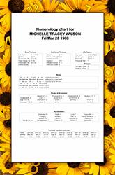 Birth Numerology Chart Style 3